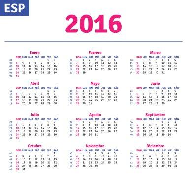 Spanish calendar 2016