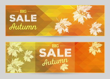 Autumn sales horizontal banner, vector polygonal background