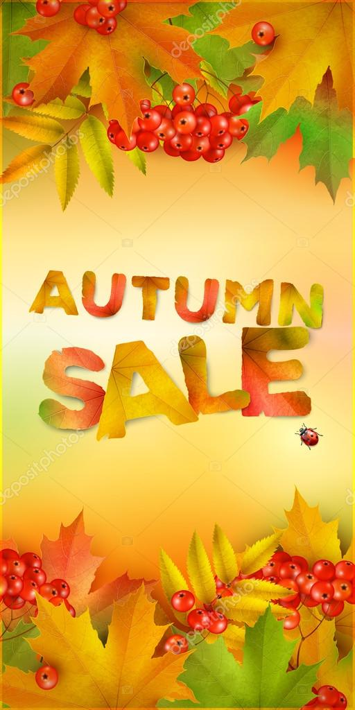 Autumn sale, vertical banner, vector background with maple leaves and berries of mountain ash