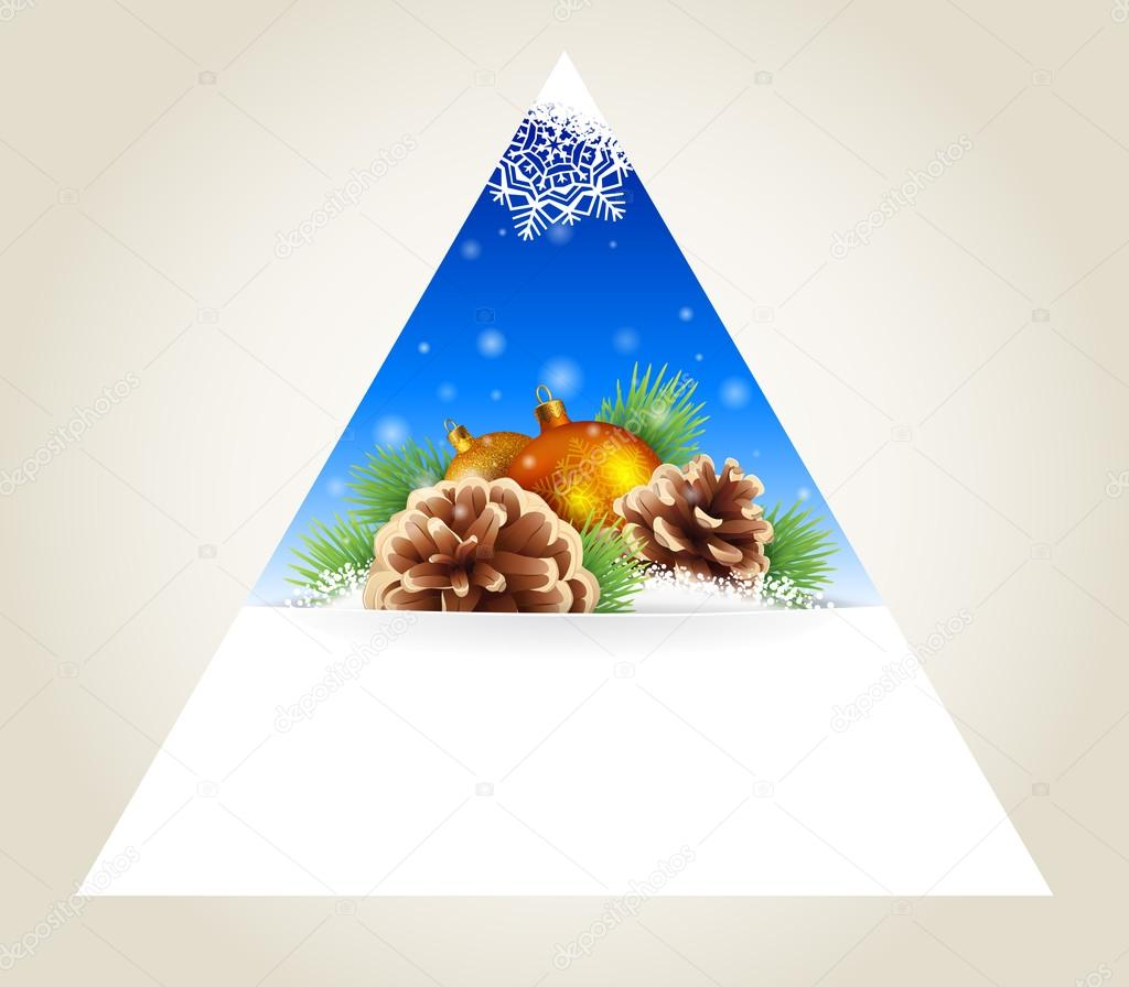 Triangular winter background, icon or design element with pine branches, pine cones and Christmas balls, vector background
