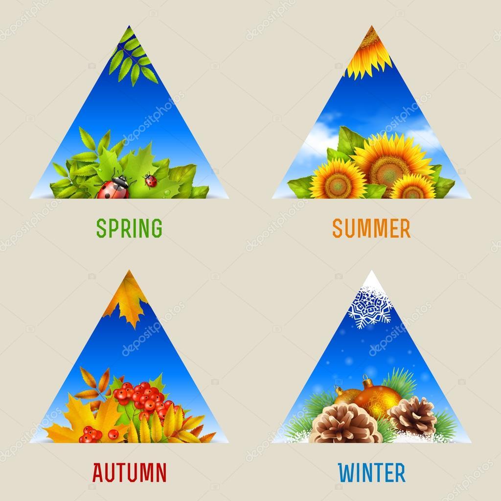 Set of triangular seasonal backgrounds, icons or design elements