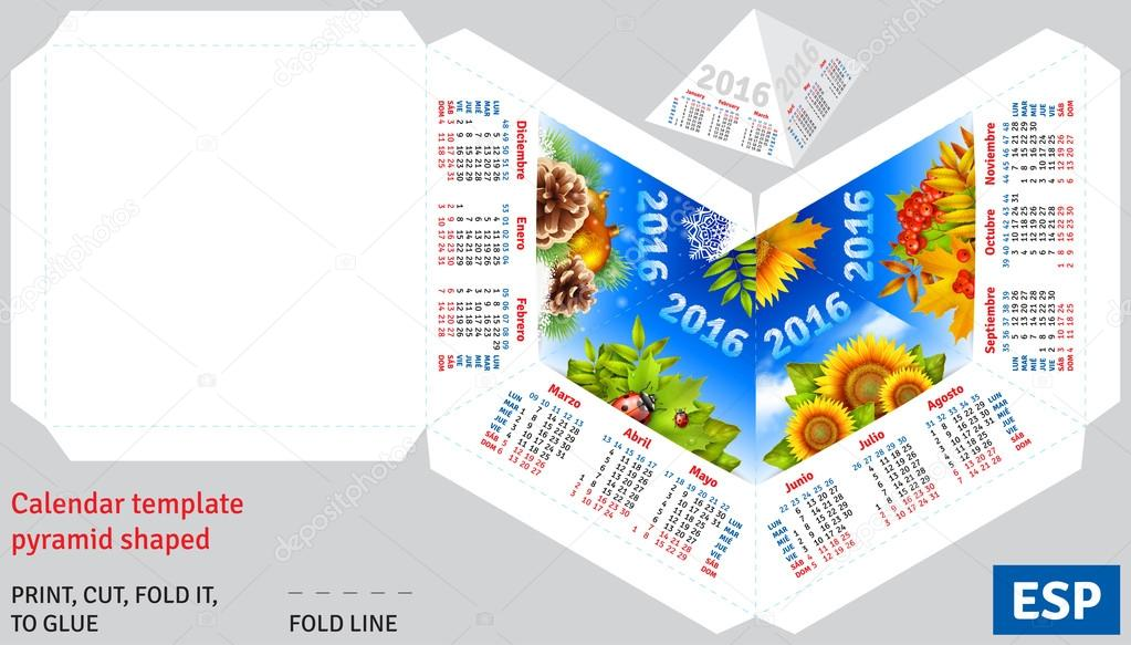 Template spanish calendar 2016 by seasons pyramid shaped
