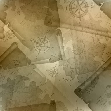 Brown seamless texture of old map of Treasure Island with a compass and manuscripts, vector illustration