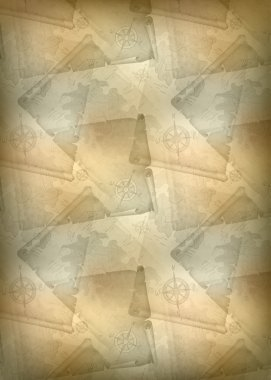Vertical template of brown background with manuscripts and the old map, vector illustration