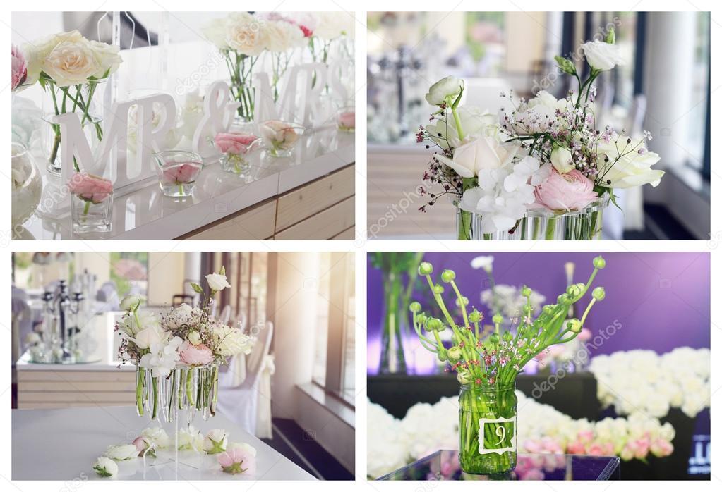 Collage Satz Von Blume Hochzeit Tischdekoration Ein Weiss Rosa Rosen