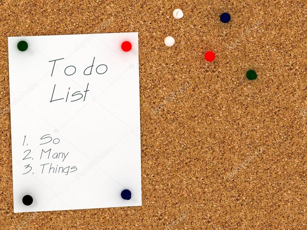 Cork board with to do list template. So many things — Stock Photo ...