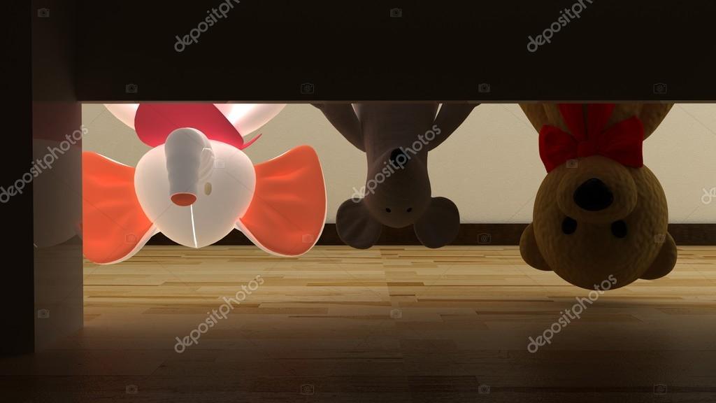 Ondersteboven teddybeer, muis en olifant speelgoed in kinderen ...