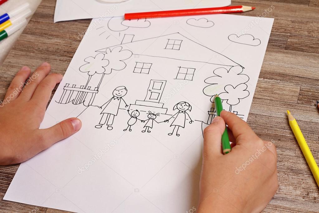 Pintura para niños. Niño para colorear. Pintura infantil familia y ...