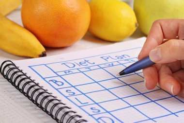 Close up on female hand writing diet plan. Nutritionist Doctor writing diet plan. Fit woman, Diet food, detox ptogram,writing weight loss, healthy life style concept
