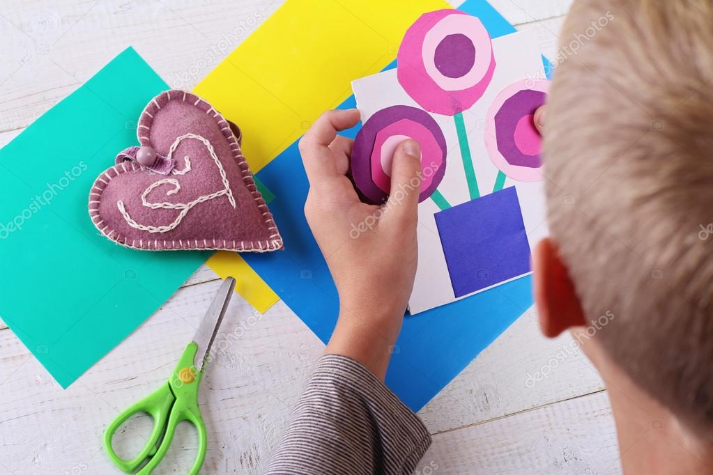 Child Cut Out Of Colored Paper Kid Making Birthday Card Happy