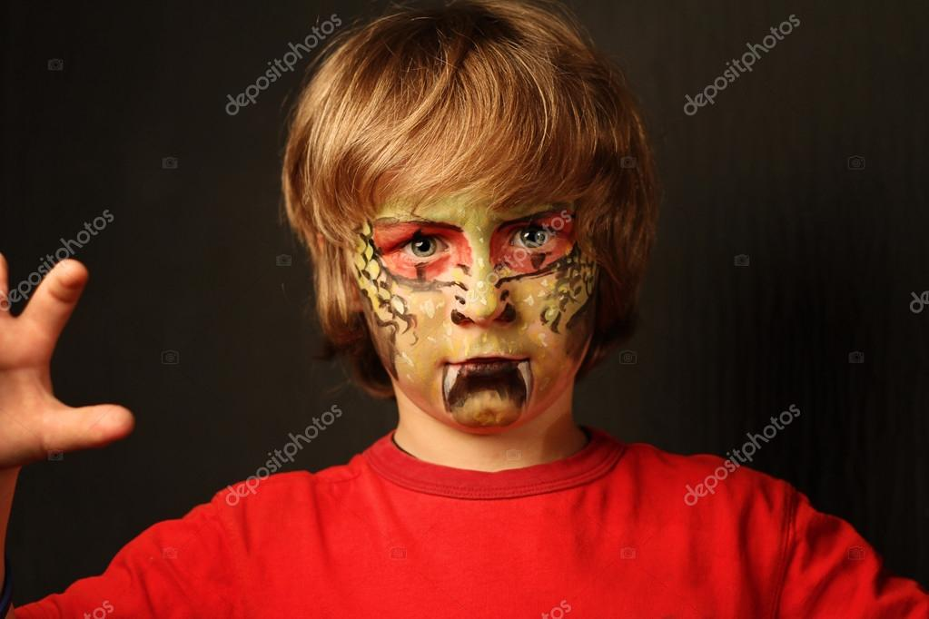 Halloween Makeup For Kids Boy.Images Snake Halloween Makeup Portrait Of 7 Years Of Boy
