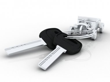 Car keys with car key ring isolated on white. Concept for owning or buying a new or pre-owned second hand car or car rentals, leasing a car or insuring your car.