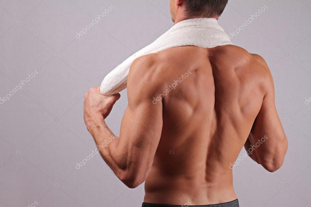 View Of Strong Muscular Male Body Closeup Of Fitness Man With A