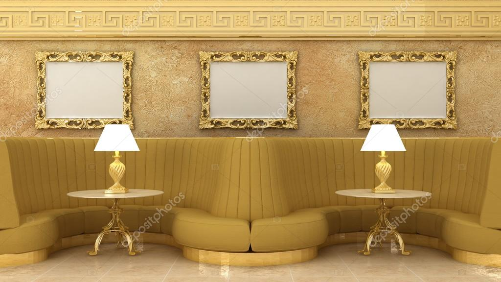 Empty golden picture frames in classic cafe interior background on ...