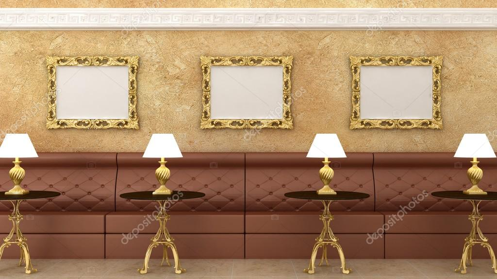depositphotos_89897658 stock photo empty golden picture frames injpg - Marble Cafe Decoration