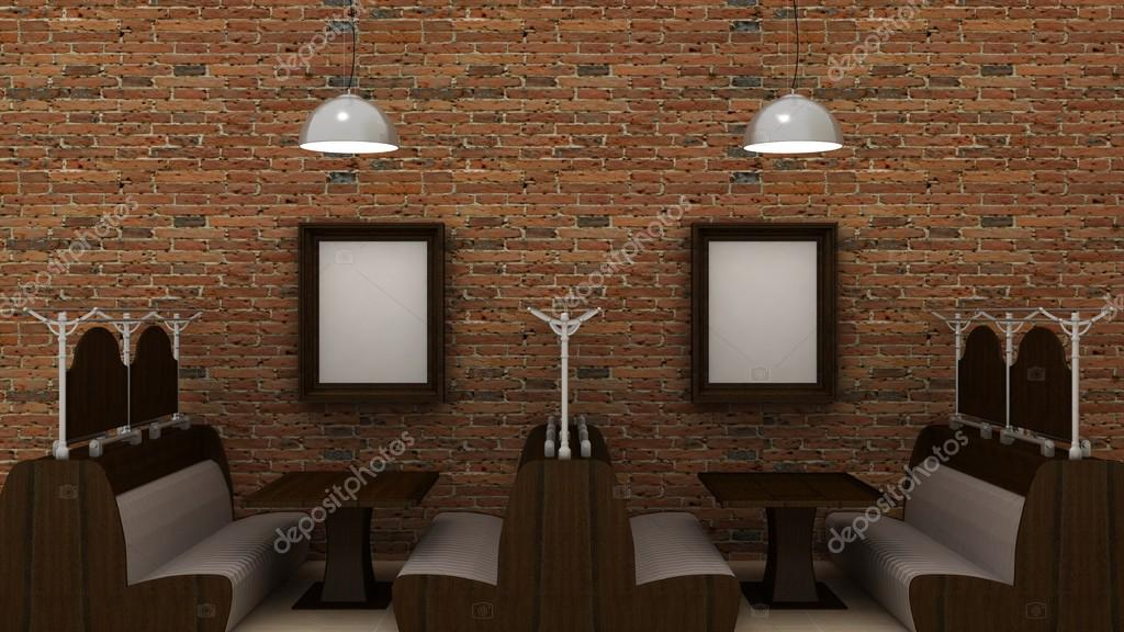 Empty Picture Frames In Classic Cafe Interior Background On The Brick Wall  With Marble Floor.