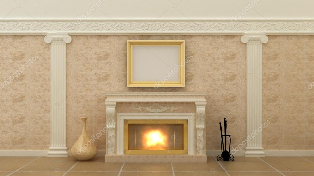 Empty Picture Above Fireplace In Classic Luxury Interior