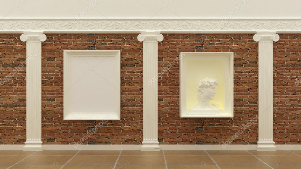 Empty picture frames in classic luxury interior background on the ...