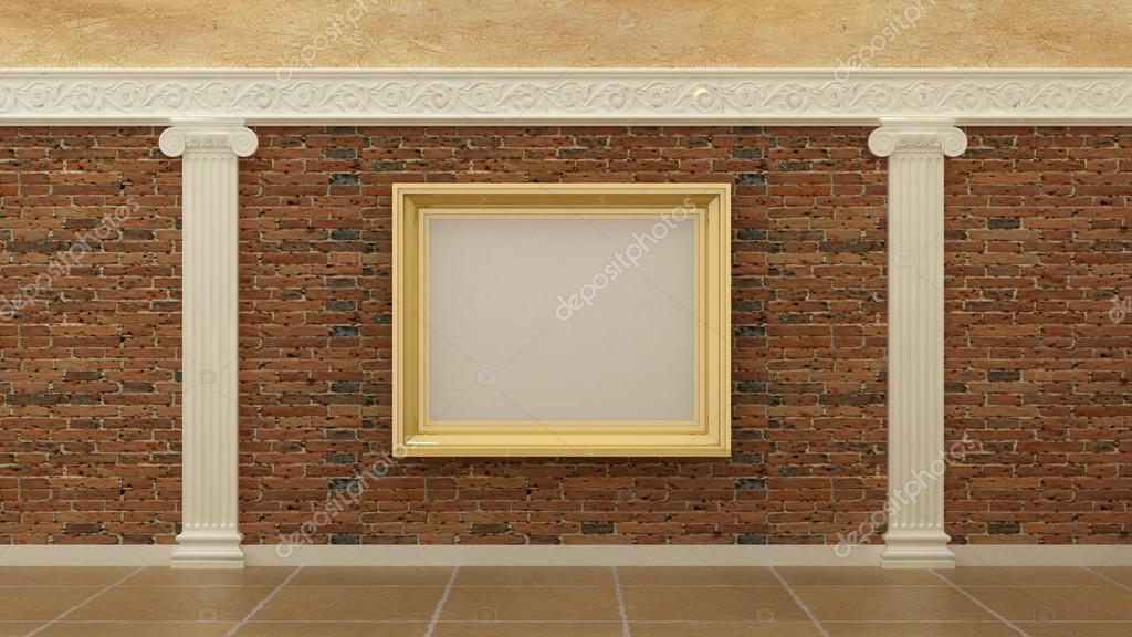 Empty picture golden frames in classic luxury interior background on ...