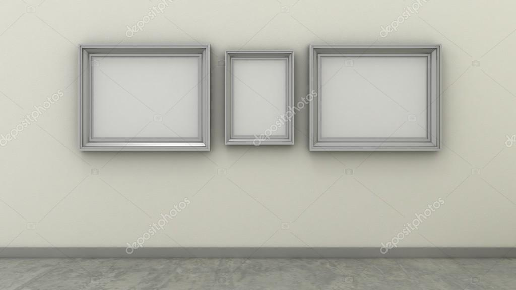Empty picture frames in modern interior background on the whitewash ...