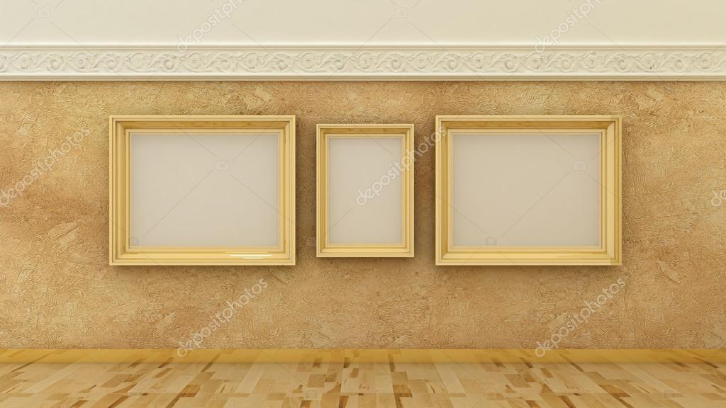 Pusty Obraz Złote Ramki W Tło Wnetrze Klasyczny Luksus Na