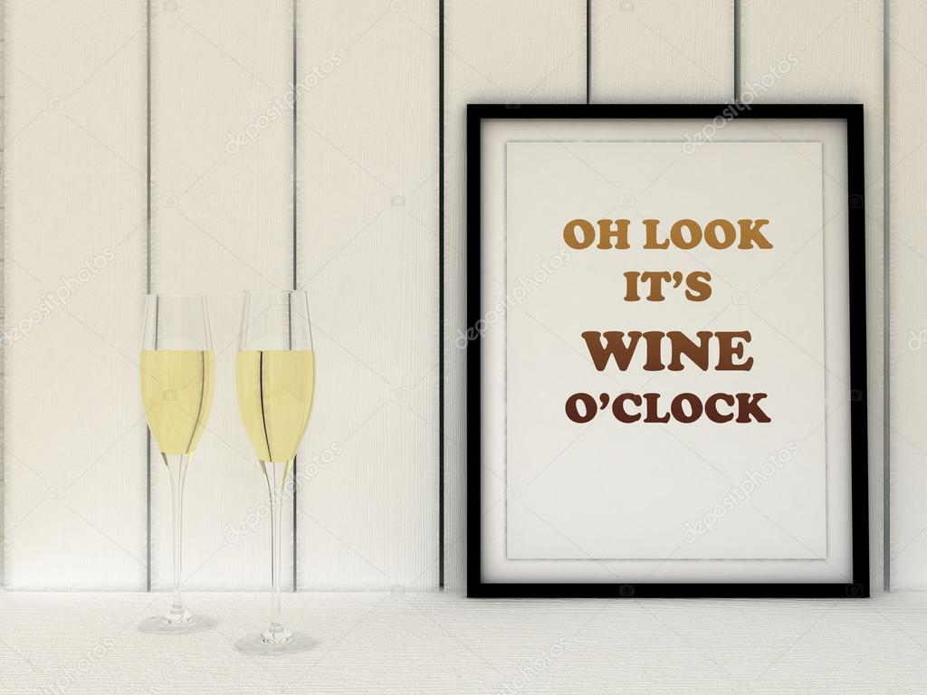 Poster In Frame Oh Look Itu0027s Wine Ou0027clock. Kitchen Art. Wine Poster