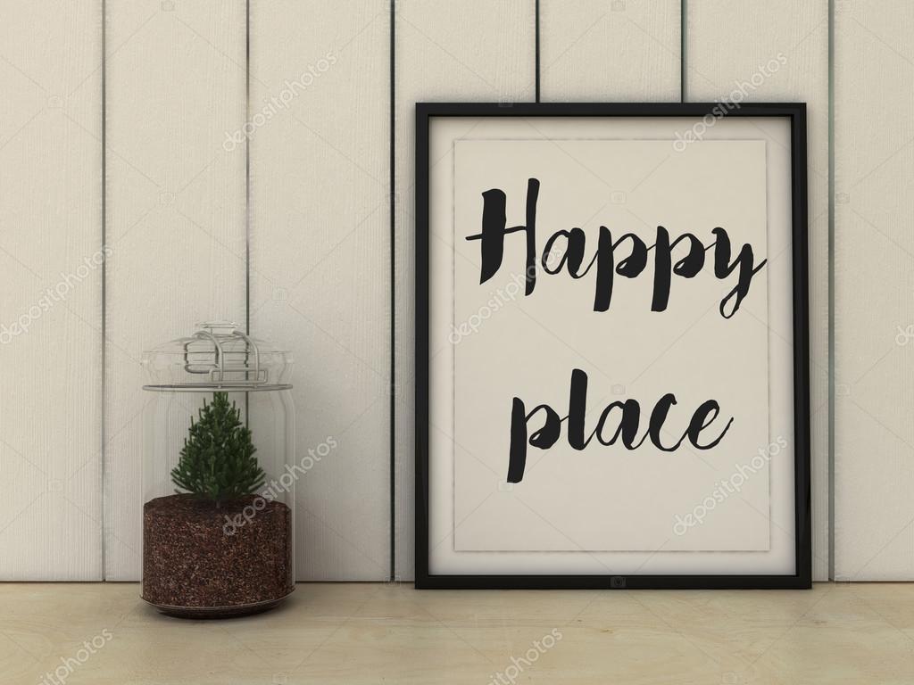 Heim, Familie und Glück Konzept. Glücklicher Platz Plakat im Rahmen ...