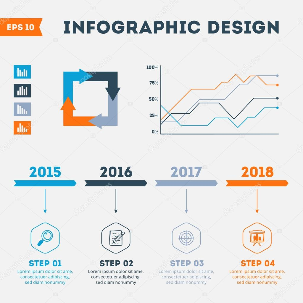 Timeline Infographic Design Templates. Set of Charts, Diagrams, Options banner and other Vector Elements for Data and Statistics Presentation with Outline Icons.