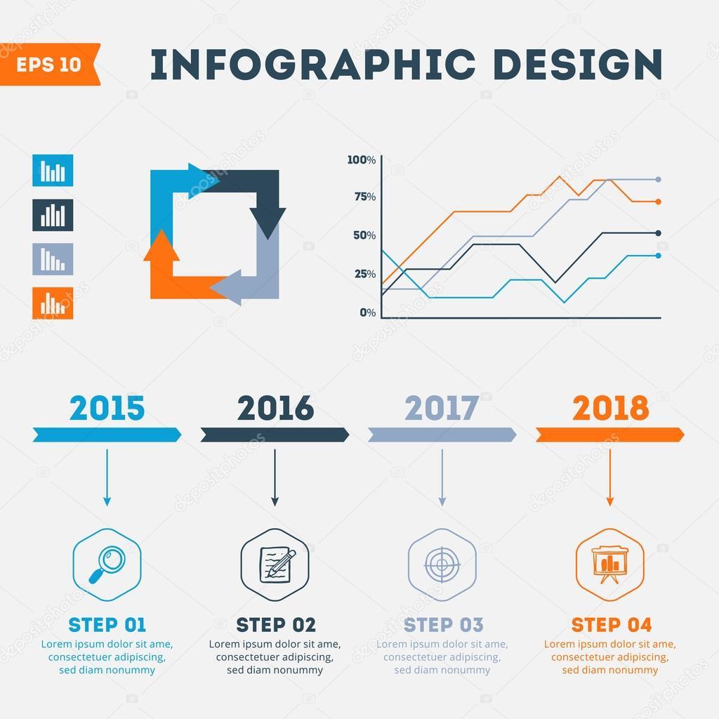 Timeline-Infographik Design-Vorlagen. Satz von Charts, Diagramme ...