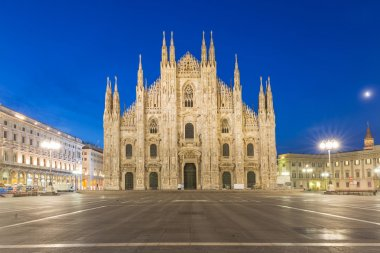 Twilight of Duomo Milan Cathedral in Italy.