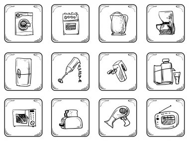 Household equipment icons.