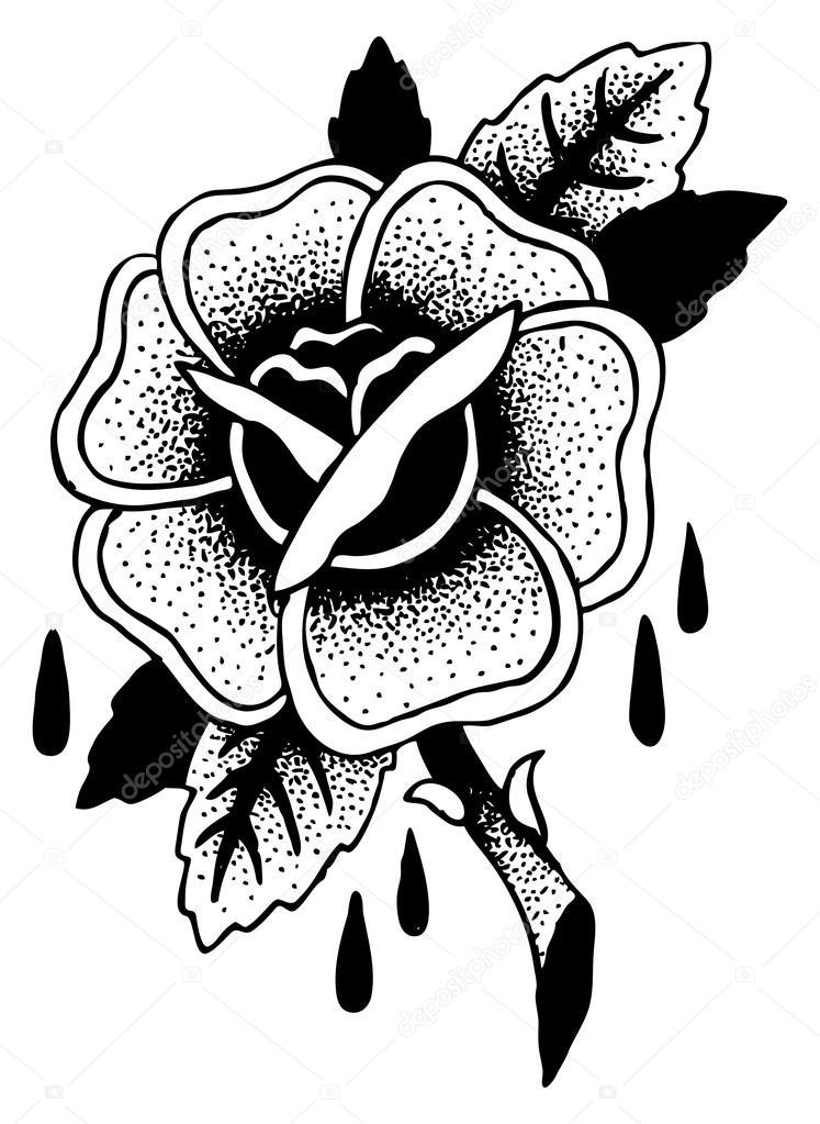 Imágenes D Rosas Para Dibujar Dibujo De Tatuaje De Rosas Vector