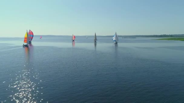 Aerial drone footage of regatta or sailing race at Dnipro river