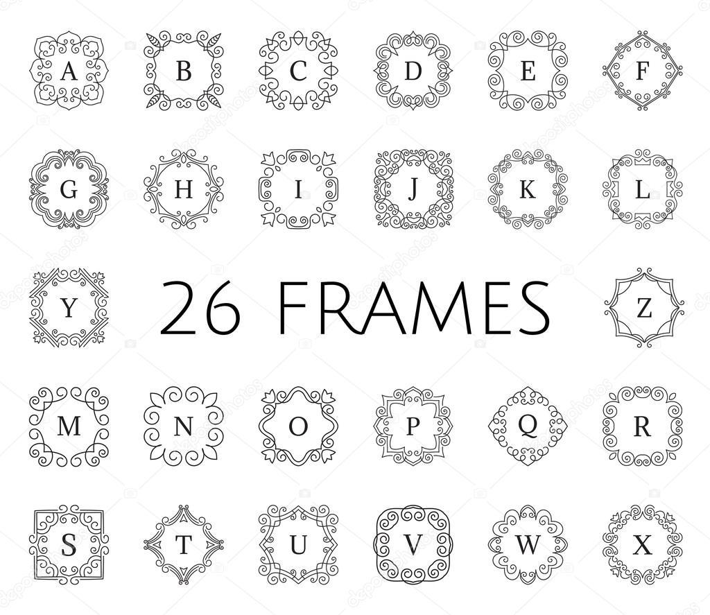 conjunto de marco flores vintage — Vector de stock © Qilli #85321022