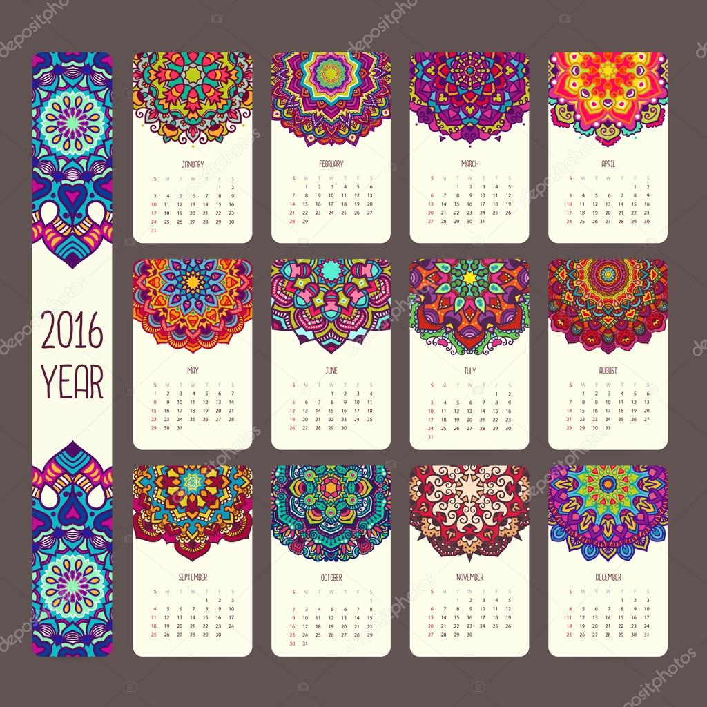 Calendar 2016 with mandalas.