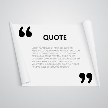 Quote text bubble. Quote template with commas. Note and message vector illustration. Design element for quote. stock vector