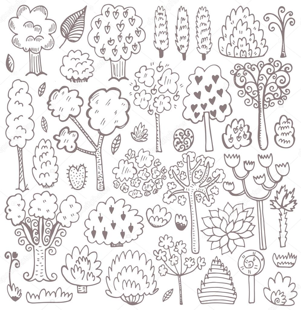 Sketch pattern with trees