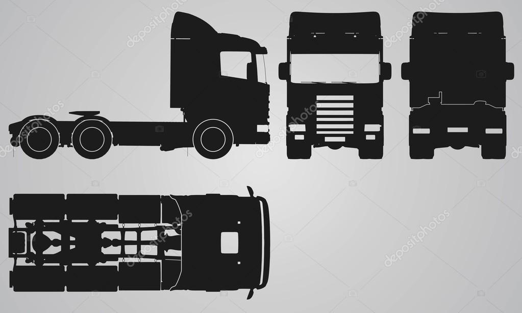 frente para trás superior e lateral caminhão sem projeção de