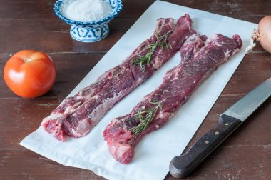 Beef meat cut according to the Argentine style, called asado
