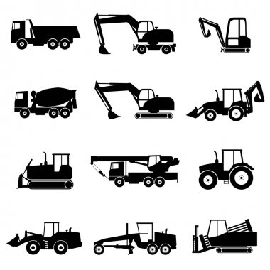 Set of construction machinery icons