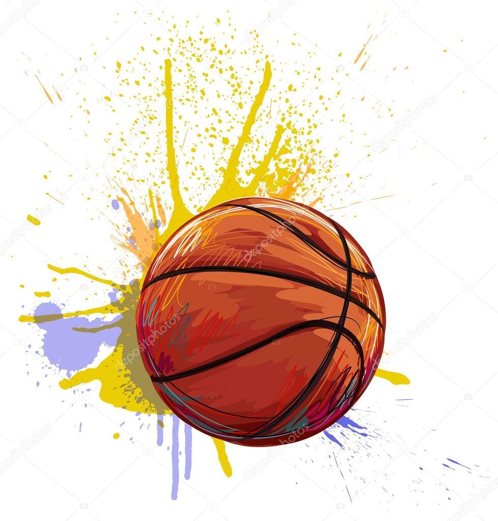 dfdd1258e1 Pelota de baloncesto sobre fondo de puntos coloridos grunge de pintura -  imágenes: balon de basquetbol para dibujar — Vector de vedvid_ARTS