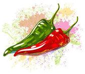 Fotografie rote und grüne Chilischoten