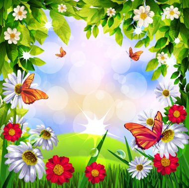 Beautiful Spring Background with flowers and butterflies on sky background clip art vector