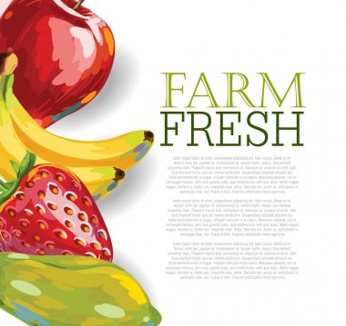 Menu design with Assorted Fruits