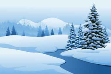 Beautiful Winter Landscape with fir trees and river stock vector