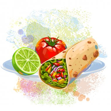 Tortilla roll on grunge colorful blots of paint clip art vector