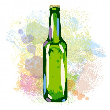Beer bottle on paint blots