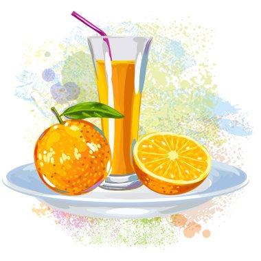 Orange Juice on paint blots