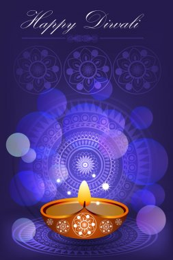 Diwali Celebration card with pattern and lights on blue Background stock vector