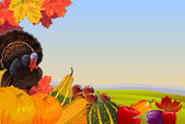 Photo Thanksgiving Background with Autumn Countryside
